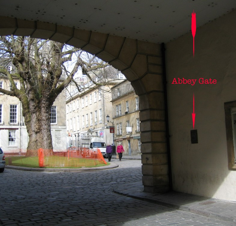 Location of plaque at Abbey Gate