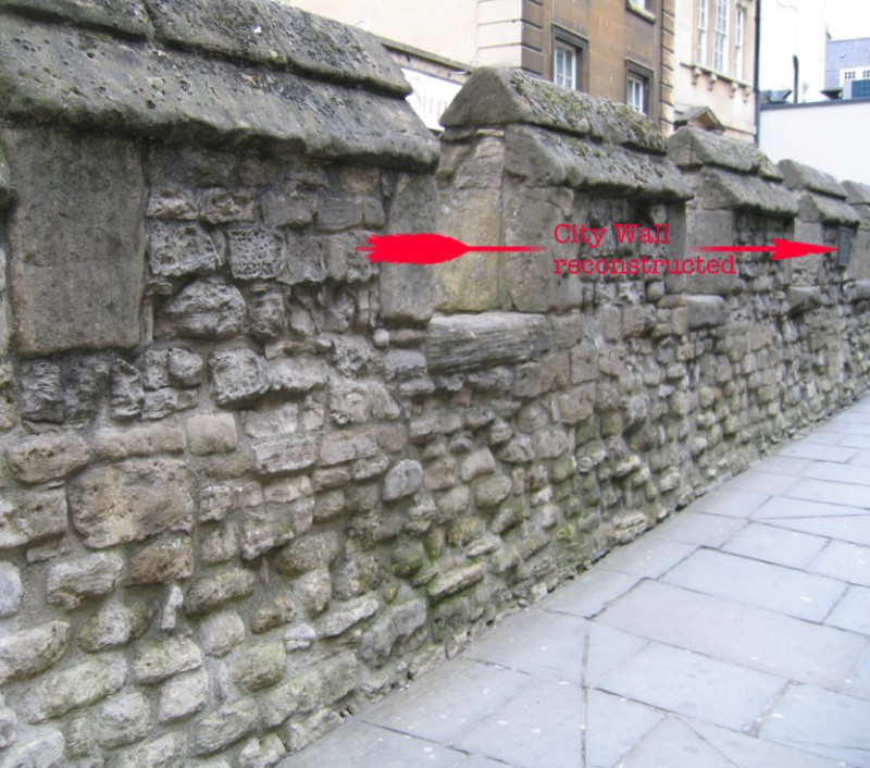 Location of plaque on reconstructed City Wall