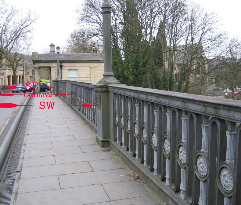 Location of plaques on Cleveland Bridge