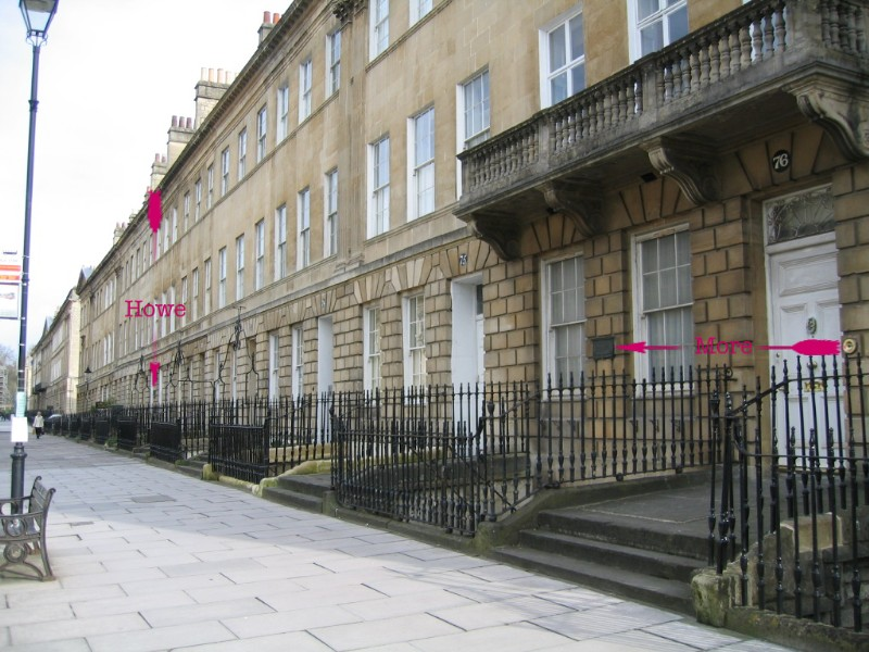 Location of plaque at 71, Pulteney Street