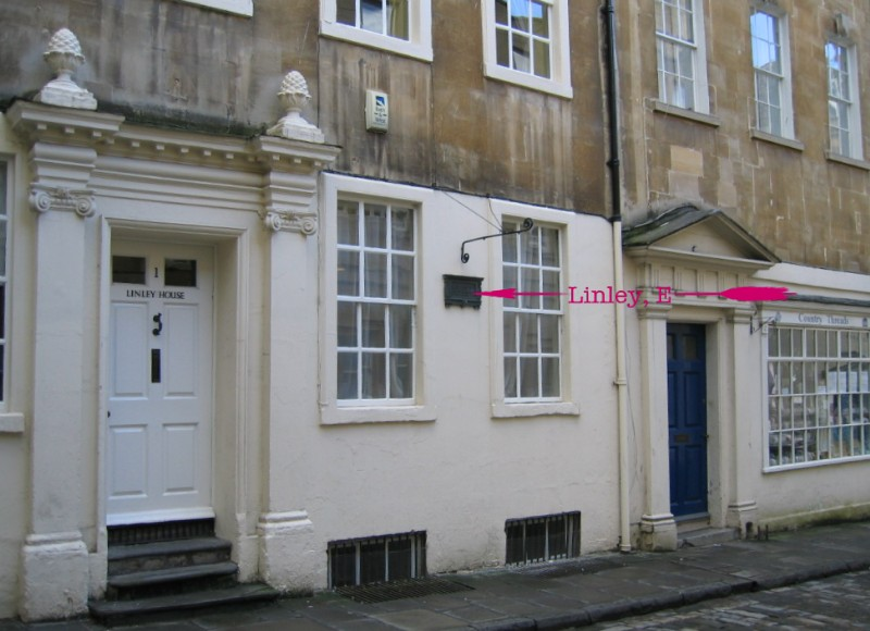 Location of plaque at Linley House, Pierrepont Place