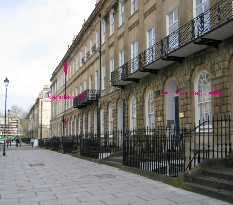 Location of plaque at 55,Pulteney Street