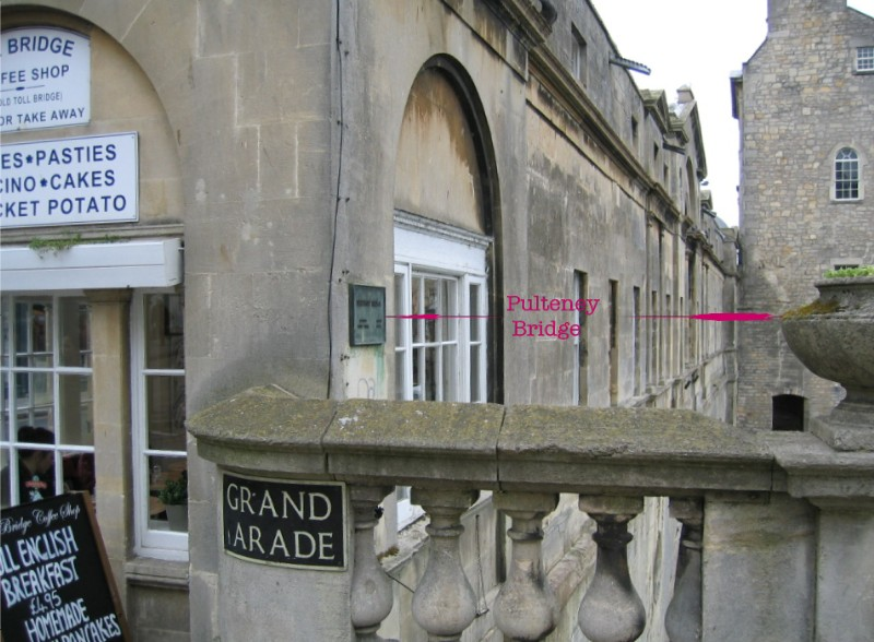 Location of plaque on Pulteney Bridge
