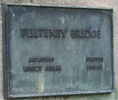 Plaque on Pulteney Bridge