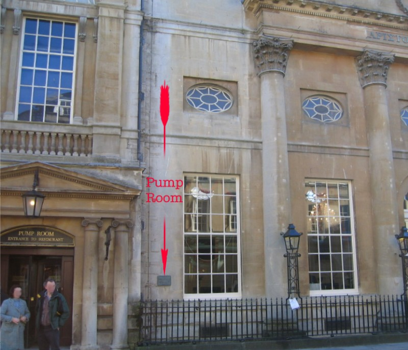 Location of plaque at Grand Pump Room