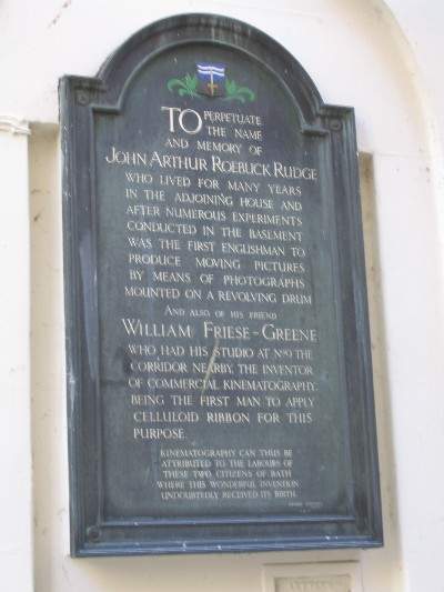William Friese-Greene and John Arthur Roebuck Rudge plaque