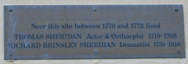 Richard Brinsley Sheridan plaque