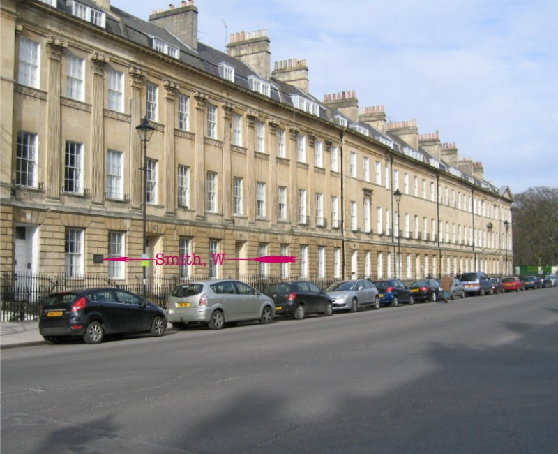 Location of plaque at 29, Pulteney Street