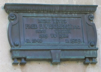 Fred E Weatherly plaque
