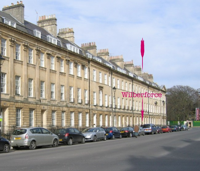 Location of plaque at 36 Great Pulteney Street