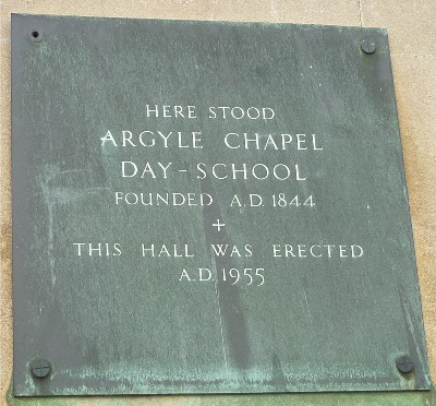 Argyle Chapel School plaque