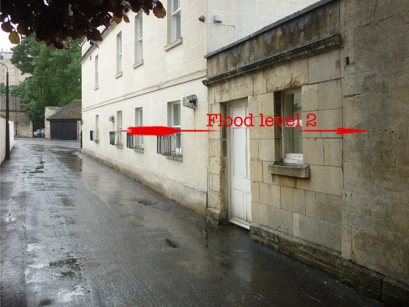 Location of flood mark on wall of Victoria School House