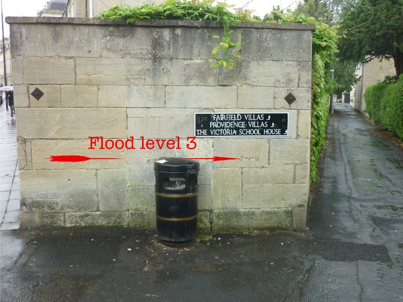 Location of flood level mark on Henrietta Street