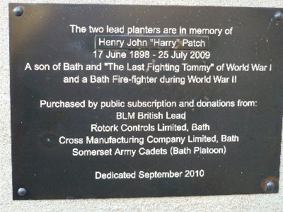 Harry Patch plaque