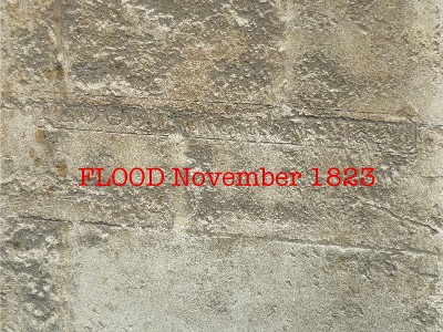 Flood mark on wall of New Prison, Grove Street